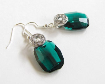 Emerald Earrings , Green Swarovski Crystals Sterling Silver , Gift for her , May Birthstone