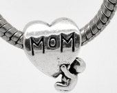 """Mom European Beads - Antique Silver - """"MOM"""" - Childs Love - 14x11mm - 5pcs -  Ships IMMEDIATELY from California - B600"""