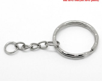 10 Key Chains - Antique Silver Key Rings - 25mm - Ships IMMEDIATELY from California - A485