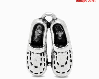 Silver Shoe Charms - Antique Silver - 20x14mm - 8pcs - Ships IMMEDIATELY from California - SC517
