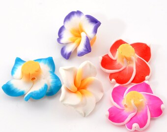 Clay Flower Beads - Assorted - Polymer Clay - 22x21mm - 5pcs - Ships IMMEDIATELY from California - B549