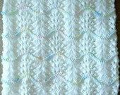 NEW Handmade WHITE Knit Crochet BABY Afghan Blanket Throw Newborn Infant Wave Trim
