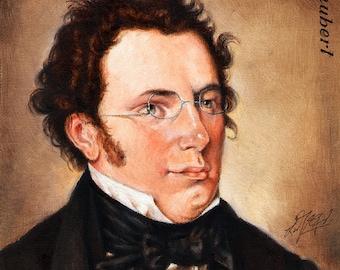 Original Portrait Painting FRANZ SCHUBERT Musician Art OIL on Canvas Signed