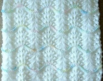 NEW Handmade WHITE Knit Crochet BABY Afghan Blanket Throw Newborn Infant Wave Trim