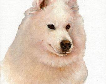 Original Oil Dog Portrait Painting WHITE SAMOYED Artwork Art from Artist Signed Puppy