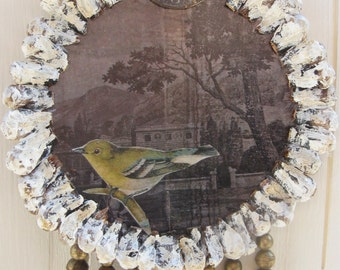 Vintage Bird Shabby White Home Decor Bird Repurposed Vintage Clock Altered Art Assemblage OOAK Decorative Ornament