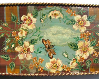 Vintage Metal Box Upcycled Roses Flowers Moth Sky Hand Painted Home Decor Original Art Vintage Box Cottage Chic OOAK Nature Theme