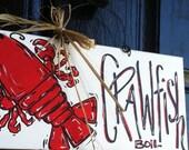 Crawfish boil, Crawfish Boil Invitations, Crawfish Decor, Crawfish Sign, Summer Door Decoration, Crawfish Door Hanger, Louisiana mudbug