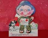 1930's Articulated Valentine, Antique Boy and Dog, Made in USA
