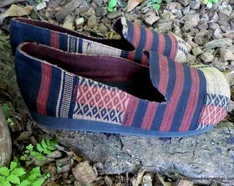 Mens Tribal Naga Earthy Woven Cotton Comfort Vegan Loafer Shoe - Jesse