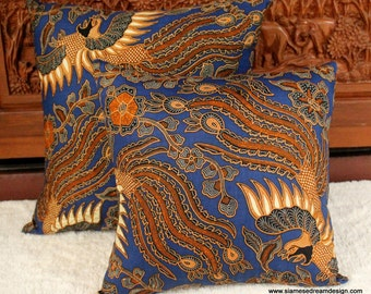 Balinese Majestic Birds Batik Pillow / Cushion Cover In Blue and Caramel 16 Or 20 inch