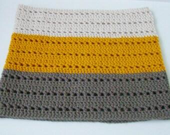Crochet cowl ivory mustard grey