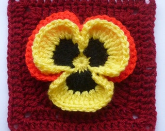 Instant Download Crochet PDF pattern - Pansy in square