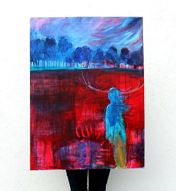 "Reserved for Alyssa Acrylic Landscape Painting Abstract ""A Walk Resolute"""
