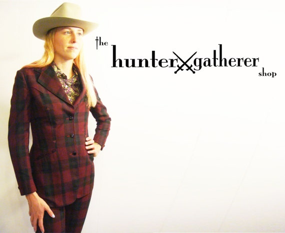 Vintage Western Suit Rodeo Queen Custom Burgundy Plaid by Gross of Denver 1975 Deadstock