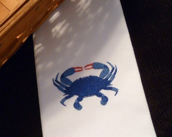 BLUE or RED Crab Set of 6 Cloth Cotton Embroidered Dinner Napkins- SEAFOOD