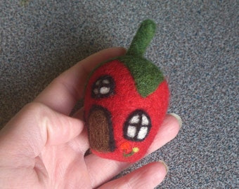 Strawberry house needle felted miniature house felt toy gift under 25