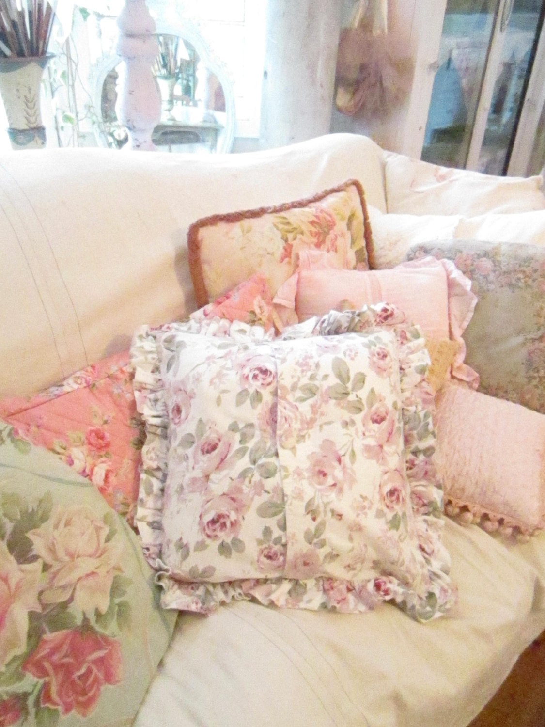 Shabby Chic Ruffle Pillows : pillow with roses and ruffles shabby chic prairie cottage chic