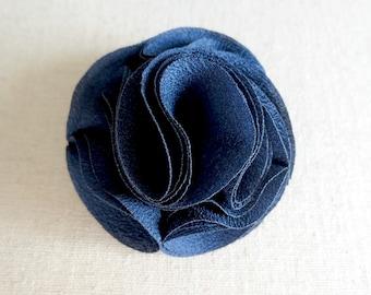 1 Pc - Navy Blue - 2 inch Folded Flower