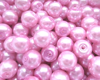 15 Pcs - Baby Pink Glass Pearl Beads - 8mm in diameter