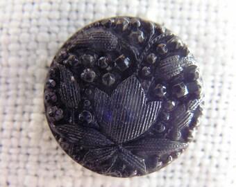 Six Victorian Black Amethyst Glass Buttons Tulip Design Half Inch Diameter