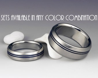 Titanium Ring Unique Wedding, Engagement, Promise or Anniversary Set with Two Off Center Pinstripes and Beveled Edges