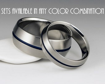 Titanium Band Set - His and Hers Wedding Set - Peaked Profile - Centered Blue Pinstripe