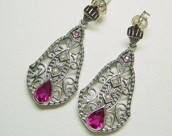 Sterling Ruby Filigree Seed Pearl Earrings