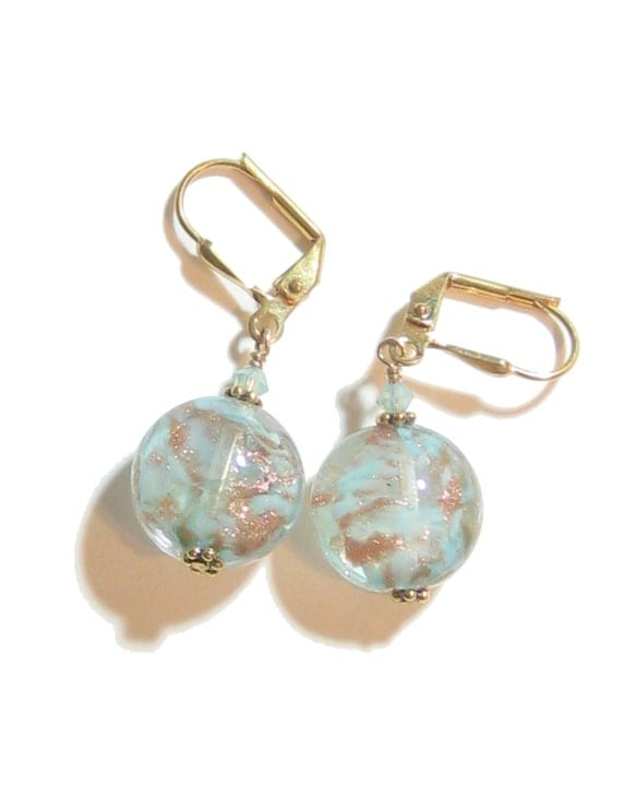 Murano Glass Aquamarine Earrings, Venetian Disc Earrings, Italian Jewelry, Leverback Earrings