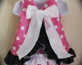 Minnie Mouse Inspired Open Back Ruffle Dress / Pinafore and ruffle bloomers, Polka Dot, Made to Order 3-6 months to 2-3T