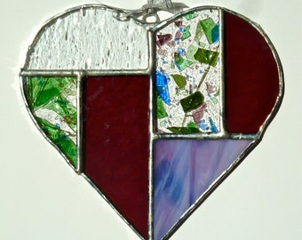 Stained Glass Heart Suncatcher (E-1)