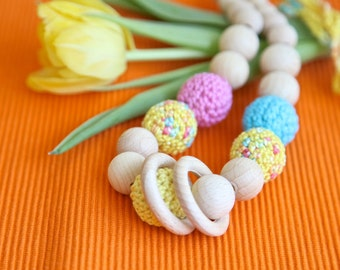 Spring color bulky nursing necklace. Big teething necklace. Girls crochet necklace. Yellow, aqua blue. pink