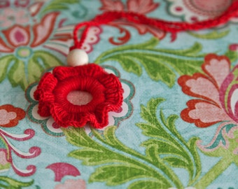 Teething rings nursing necklace/ pendant teething toy. Mother's day gift. Red girls pendant.