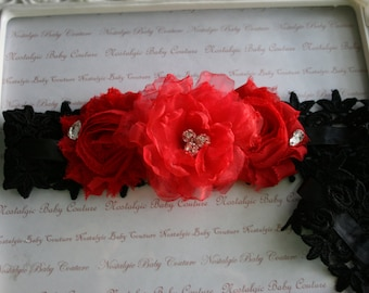 Black Bridal Garters\Black and Red Weddings\Spanish Style Venice Lace and Red Chiffon Rose Spanish Style Weddings with Swarovski crystals