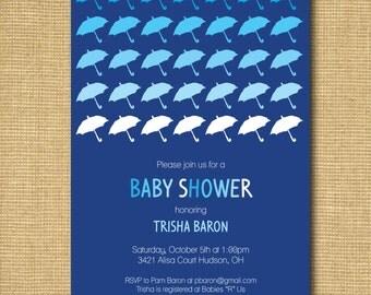 Umbrella Baby Shower Invitation - Baby Boy or Gender Neutral