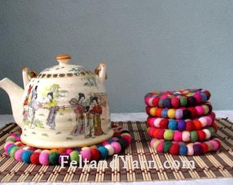 Multicolored Felt ball Trivet and tea coaster set