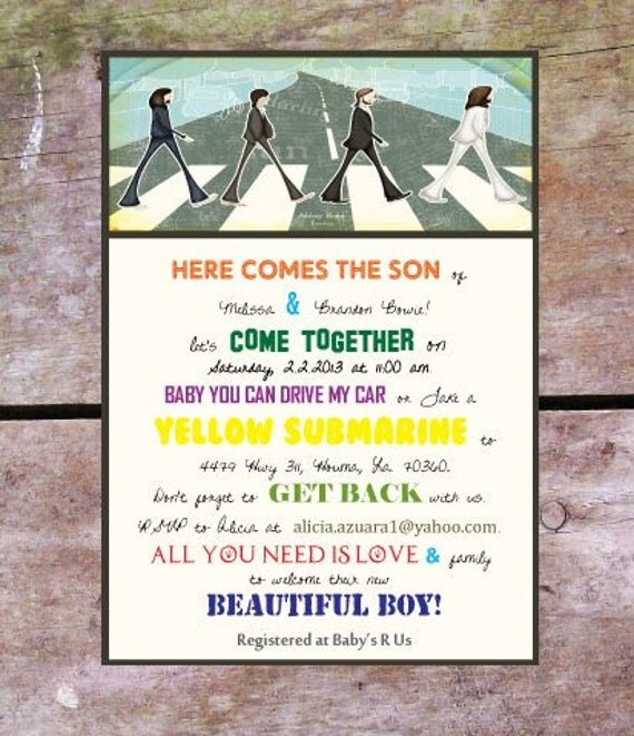 Items Similar To Beatles Theme Baby Shower Invitation On Etsy