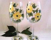 Black eyed susan pair of  hand painted wine glasses