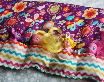 Toy Caddy Purple Flowers