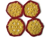 Crocheted hexagonal coasters in Yellow and Red:Set of 4