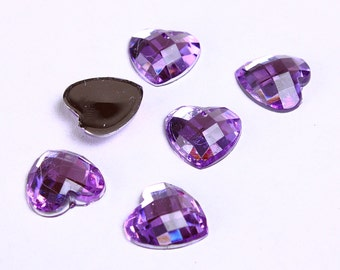 14mm purple heart cabochons - 14mm purple faceted cabochons with Silver Foil - 14mm flatback cabochons (947) - Flat rate shipping