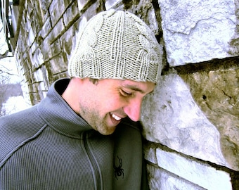 Cable Knit Hat Mens Beanie Knitted Unisex Cap Womens Crochet Hat Winter
