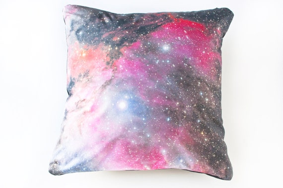 Galaxy Nebula Print Accent Pillow Cover Space Throw Pillow Pink
