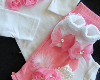 NEWBORN baby girl take home outfit pink rosette romper matching pants matching pink headband and socks with bows Now Available in PREEMIE