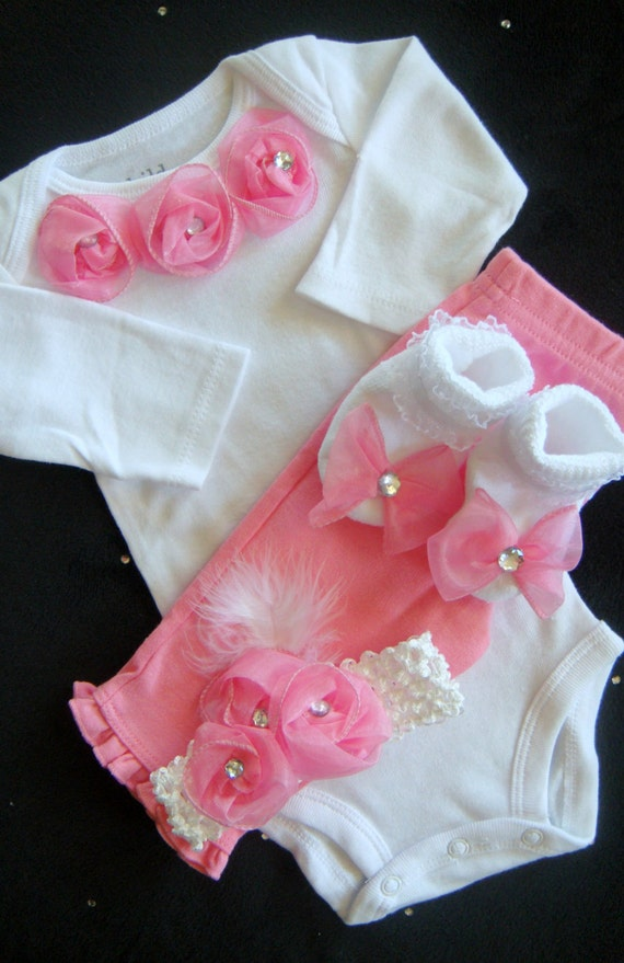 Newborn Baby Girl Take Home Outfit Pink By Bebeblingboutique