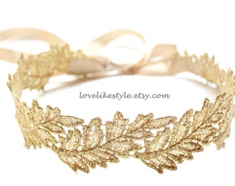 Wedding Sash,Gold Leaf  Metallic Lace with Champagne Satin Sash,  Bridal Sash, Bridesmaid Sash , Head Tie /GSH-06