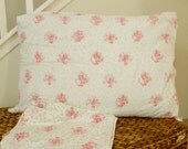 Vintage Handmade Standard Size Pillowcase Set Flowers Vines