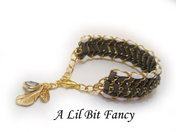 GORGEOUS Gold, deep grey and white Leather wrap bracelet with feather charm and pendant