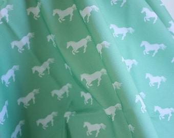 The White Pony on Mint YARDAGE, Equestrian Printed Cotton Fabric | Ships from USA, Free Ship Worldwide