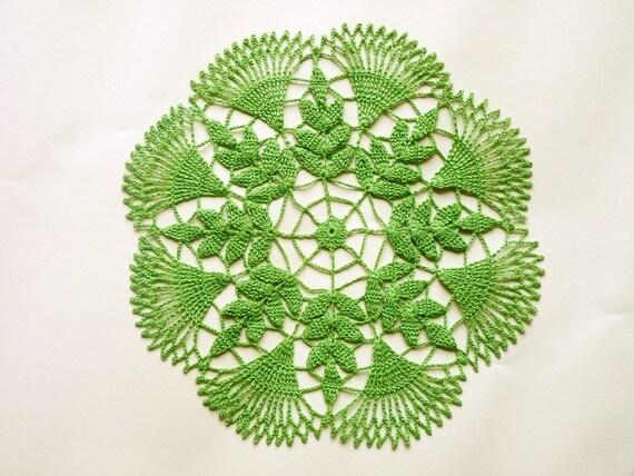 Light green leaf small handmade crochet doily